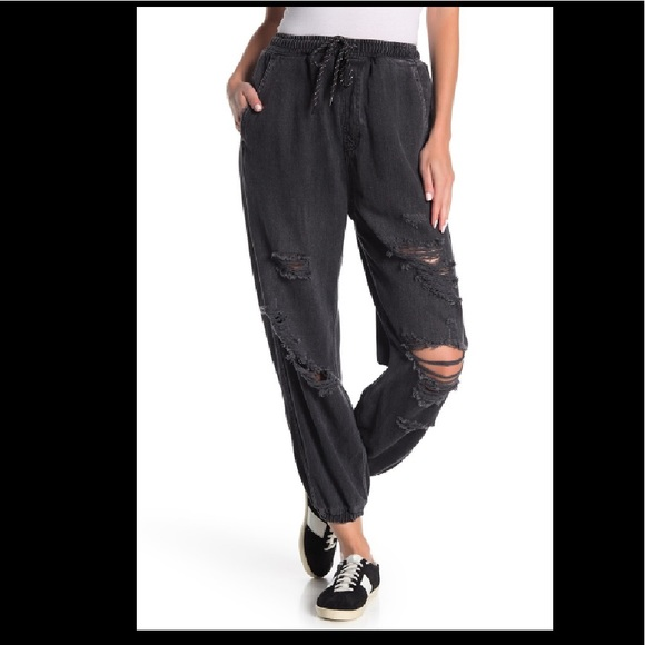 Free People Denim - Free People Sloan Destructed Joggers Black NWT S